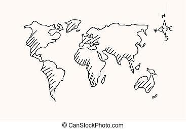 mano, dibujado, mapa del mundo