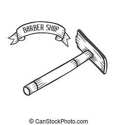 mano, dibujado, maquinilla de afeitar