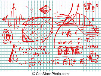 mano, dibujado, matemáticas, símbolos