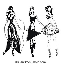 mano, dibujado, moda, niñas