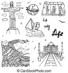 mano, dibujado, mundo, architecture.