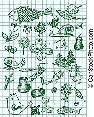 mano, dibujado, naturaleza, símbolos