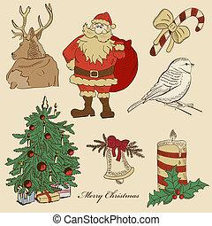 mano, dibujado, navidad, conjunto