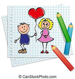 mano, dibujado, -, niña, y, niño