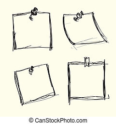mano, dibujado, nota, papeles, con, pushpins