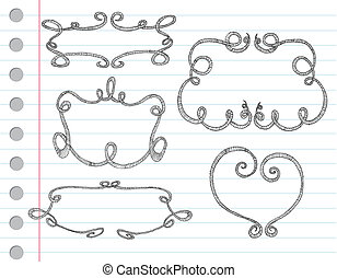 mano, dibujado, ornamental, marcos