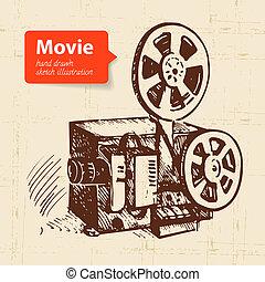 mano, dibujado, película, illustration., bosquejo, plano de...