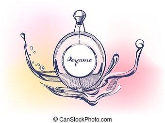 mano, dibujado, perfume
