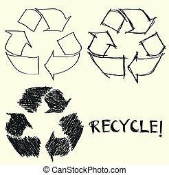 mano, dibujado, reciclar, señal