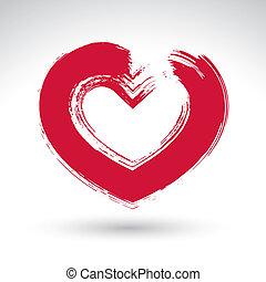 mano, dibujado, rojo, adore corazón, icono, cepillo, dibujo,...