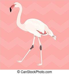 mano, dibujado, rosa, flamingo., seamless, patrón