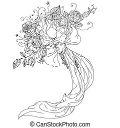 mano, dibujado, salvaje, rosas, conjunto
