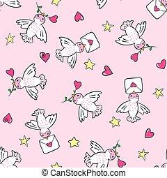 mano, dibujado, seamless, patrón, con, aves, y, hearts.