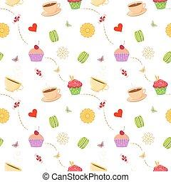 mano, dibujado, seamless, patrón, con, cupcakes, macarrones, y, teacups