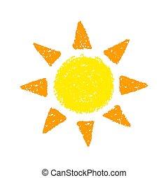 mano, dibujado, sol