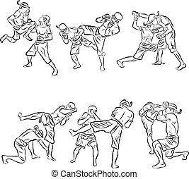 mano, dibujado, tailandés, artes marciales, y, mu