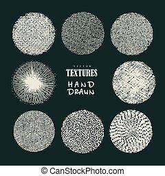 mano, dibujado, texturas, y, brushes., artístico, colección, de, diseño, elements:, aplopejías de pincel, pintura, dabs, ondulado, líneas, resumen, fondos, patrones, hecho, con, tinta
