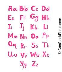 mano, dibujado, tipo, fuente, rosa, niños, alfabeto, vector, ilustración, aislado, blanco, plano de fondo