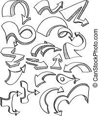 mano, dibujado, vector, flecha, conjunto