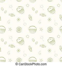 mano, dibujado, vector, seamless, patrones, con, cupcakes, golosinas, y, c