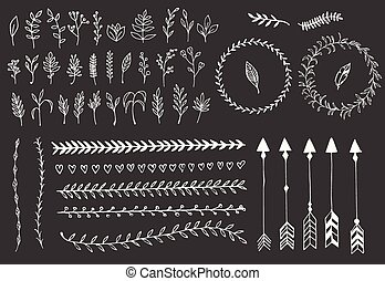 mano, dibujado, vendimia, flechas, plumas, divisores, y, elementos florales