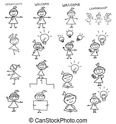 mano, dibujo, caricatura, concepto, feliz, mujer de negocios