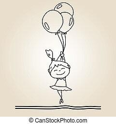 mano, dibujo, caricatura, felicidad