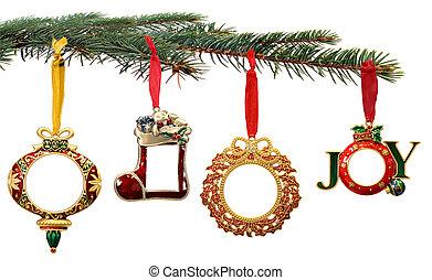 mano, dipinto, ornamenti natale, appendere, uno, ramo albero