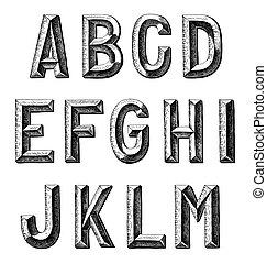 mano, disegnare, schizzo, alfabeto, disegno