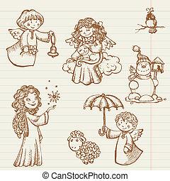 mano, disegnato, collezione, di, angeli, e, natale, doodles, in, vettore