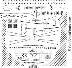 mano, disegnato, doodads, e, disegni