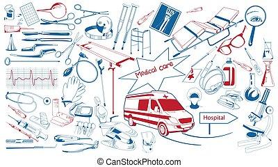 mano, disegnato, elementi, collezione, sanità