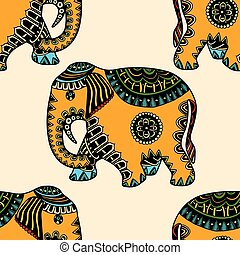 mano, disegnato, etnico, elefante