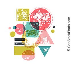 mano, disegnato, handcrafted, fatto mano, francobollo, set, e, inchiostro, macchie, tessiture, astratto, forme
