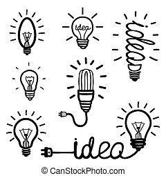mano, disegnato, lampadina, icone