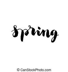 mano, disegnato, parola, -, primavera, in, vettore