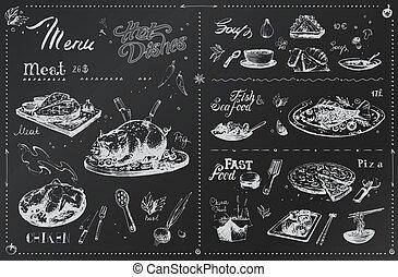 mano, disegnato, piatti, carne, disegno, menu, gesso