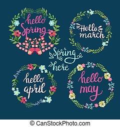 mano, disegnato, primavera, ghirlande, con, testo, ciao, primavera, marzo, aprile, maggio, lettering.