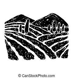 mano, disegnato, rurale, paesaggio.