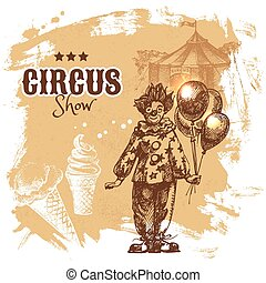 mano, disegnato, schizzo, circo, e, divertimento, vettore,...