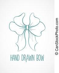 mano, disegnato, schizzo, di, blu, festivo, bow.