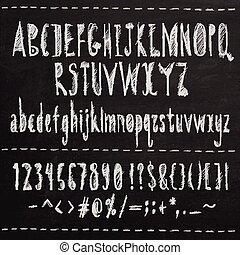 mano, disegnato, schizzo, font.