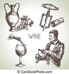 mano, disegnato, schizzo, vettore, vino, set