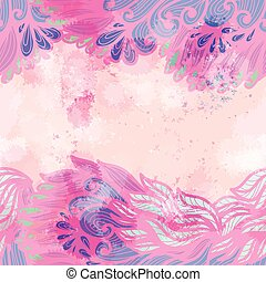 mano, disegnato, seamless, rosa, e, viola, invito, scheda, disegno, con, turbini
