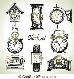 mano, disegnato, set, di, clocks, e, osservare