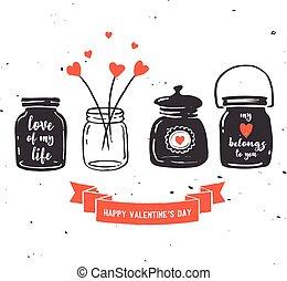 mano, disegnato, vaso mason, collezione, amore, citare