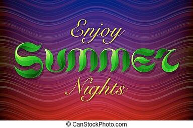 mano, disegnato, verde, mette foglie, testo, godere, estate, notti, iscrizione