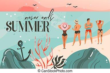 mano, disegnato, vettore, astratto, cartone animato, ora legale, grafico, illustrazioni, arte, sagoma, fondo, con, oceano, spiaggia, paesaggio, tramonto, e, ragazze, su, scena spiaggia, e, estate, mai, fini, tipografia