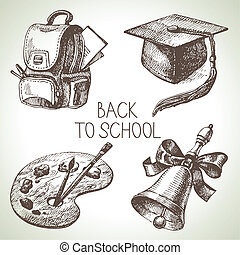 mano, disegnato, vettore, scuola, oggetto, set., indietro...