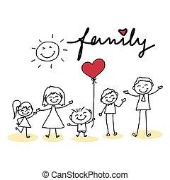 mano, disegno, cartone animato, famiglia, felice